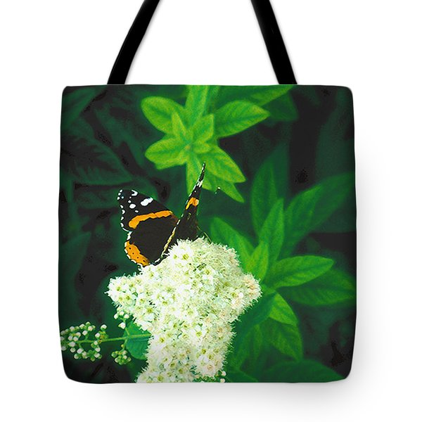 Red Admiral On Spirea Tote Bag
