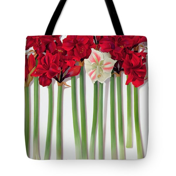Red Amaryllis With Butterfly Tote Bag by Lizzie Riches