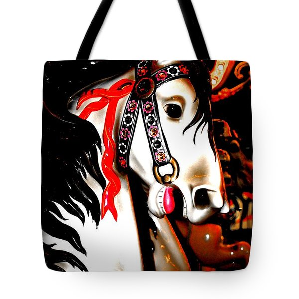 Red And Black Carousel Horse Tote Bag