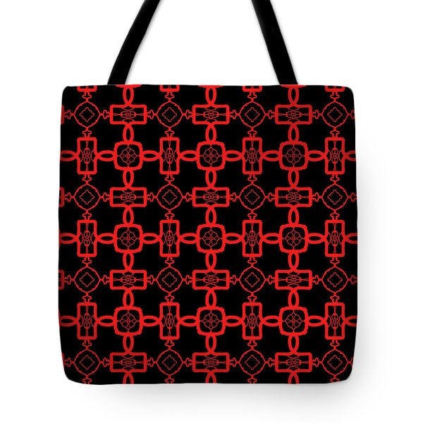 Tote Bag featuring the digital art Red And Black Celtic Cross Pattern by Becky Herrera
