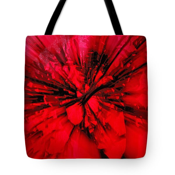 Tote Bag featuring the photograph Red And Black Explosion by Susan Capuano