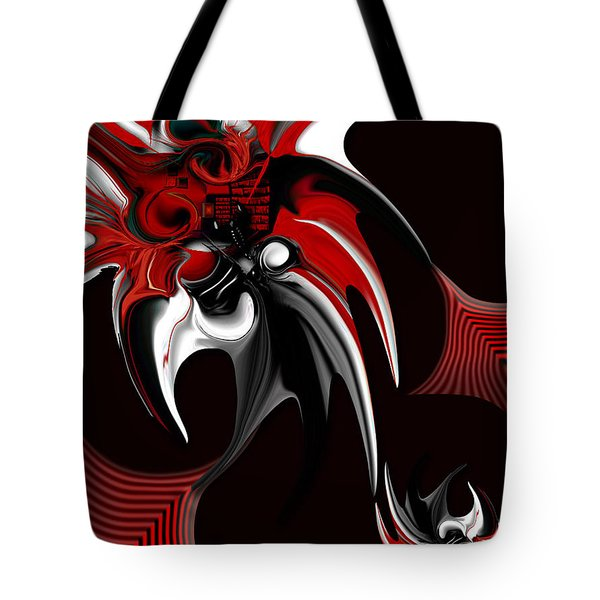 Red And Black Formation Tote Bag by Carmen Fine Art