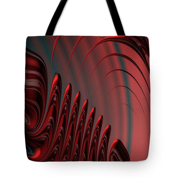 Red And Black Modern Fractal Design Tote Bag