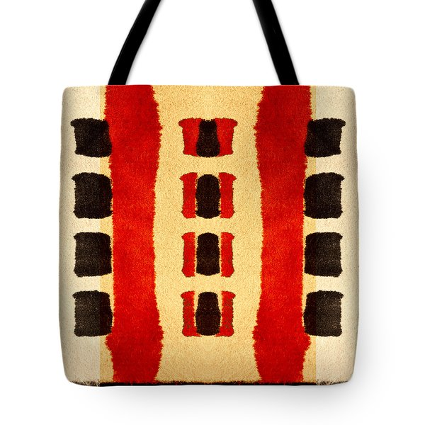 Red And Black Panel Number 3 Tote Bag