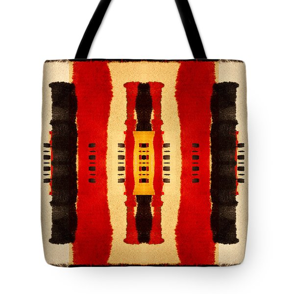Red And Black Panel Number 4 Tote Bag