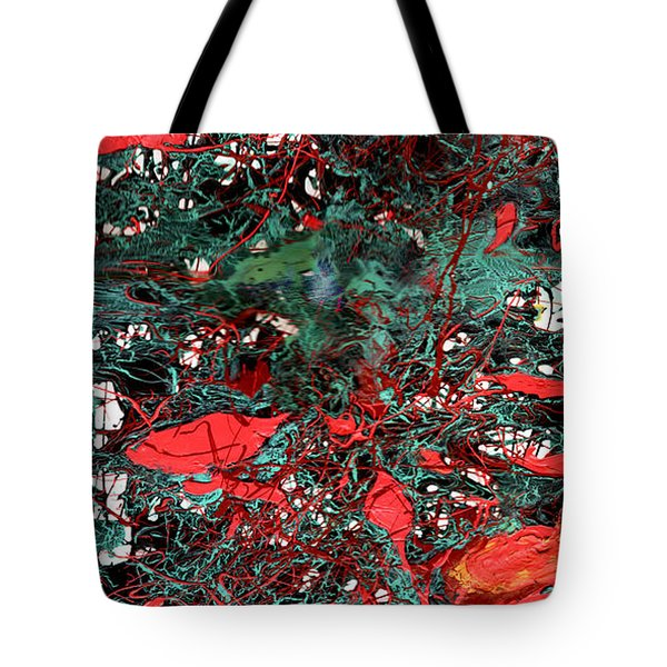 Tote Bag featuring the painting Red And Black Turquoise Drip Abstract by Genevieve Esson