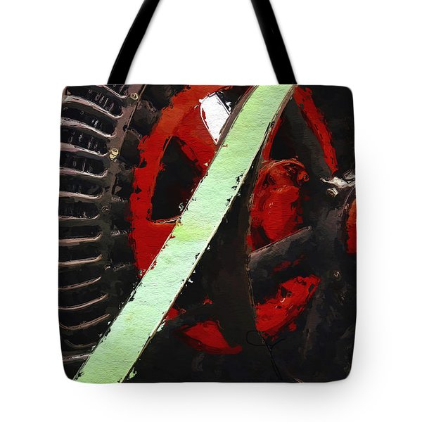 Tote Bag featuring the painting Red And Black Wheel by Joan Reese