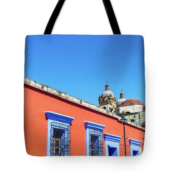 Red And Blue Colonial Architecture Tote Bag