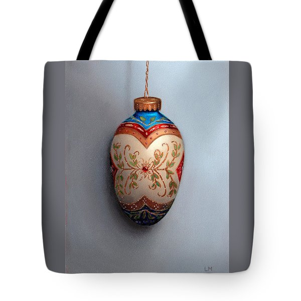 Red And Blue Filigree Egg Ornament Tote Bag