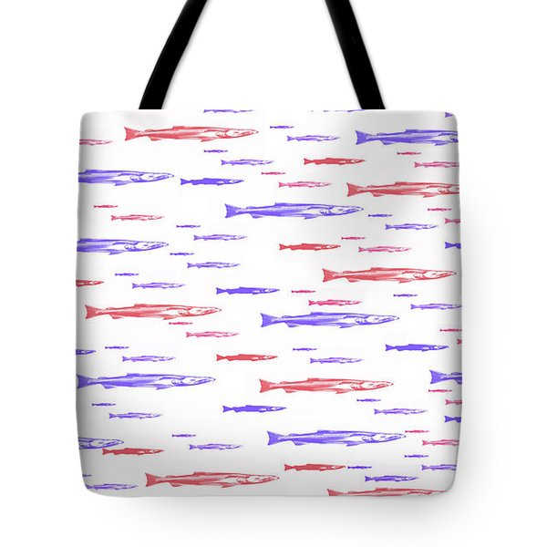 Red And Blue Fish Pattern Tote Bag