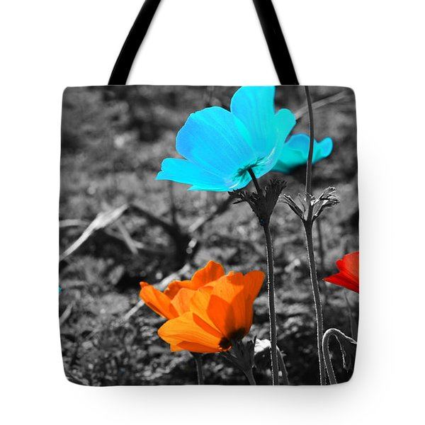 Red And Blue Flowers On Gray Background Tote Bag