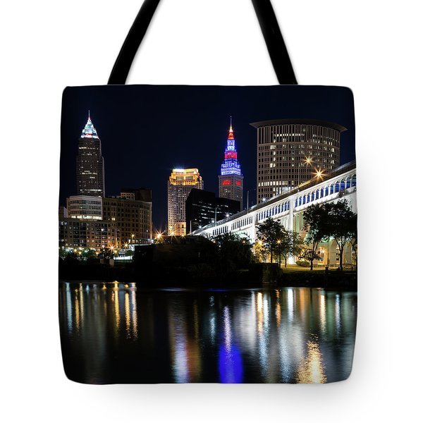 Tote Bag featuring the photograph Red And Blue In Cleveland by Dale Kincaid