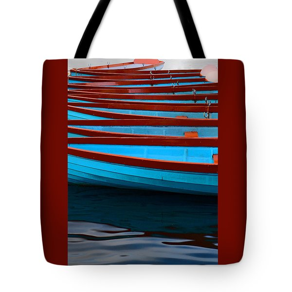 Red And Blue Paddle Boats Tote Bag