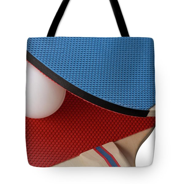 Red And Blue Ping Pong Paddles - Closeup Tote Bag