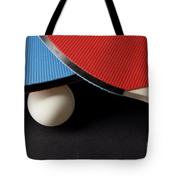 Red And Blue Ping Pong Paddles - Closeup On Black Tote Bag