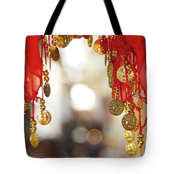 Red And Gold Entrance To Market Tote Bag