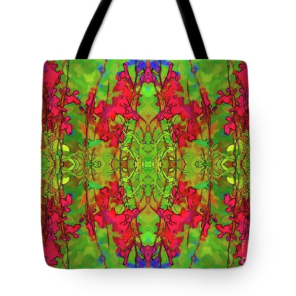 Tote Bag featuring the digital art Red And Green Floral Abstract by Linda Phelps
