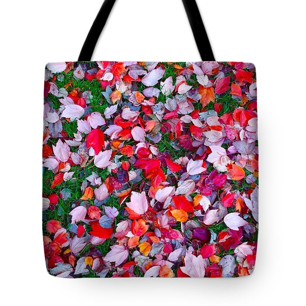 Red And Green Leaves Tote Bag