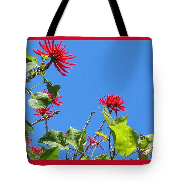 Red And Green San Diego Flowers Tote Bag by Doreen Whitelock