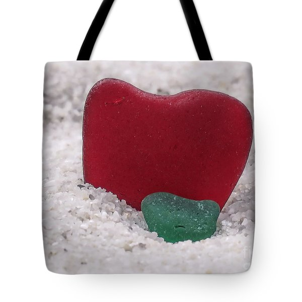 Red And Green Sea Glass  Tote Bag