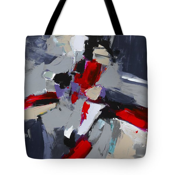 Red And Grey Abstract By Elise Palmigiani Tote Bag by Elise Palmigiani
