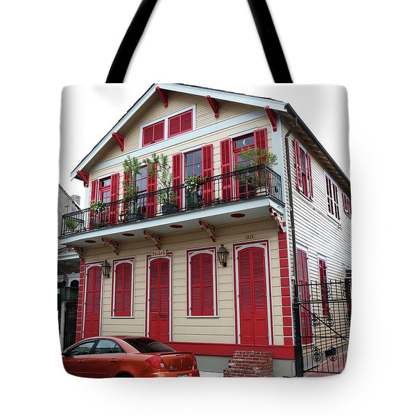 Tote Bag featuring the photograph Red And Tan House by Steven Spak