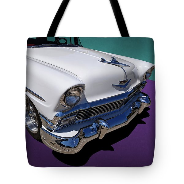 Red And White 1950s Chevrolet Wagon Tote Bag