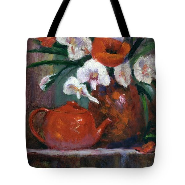 Red And White Tote Bag by Linda Hiller