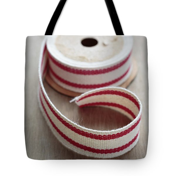 Red And White Ribbon Spool Tote Bag