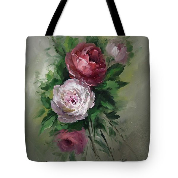 Red And White Roses Tote Bag by David Jansen