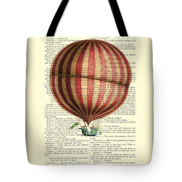 Red And White Striped Hot Air Balloon Antique Photo Tote Bag