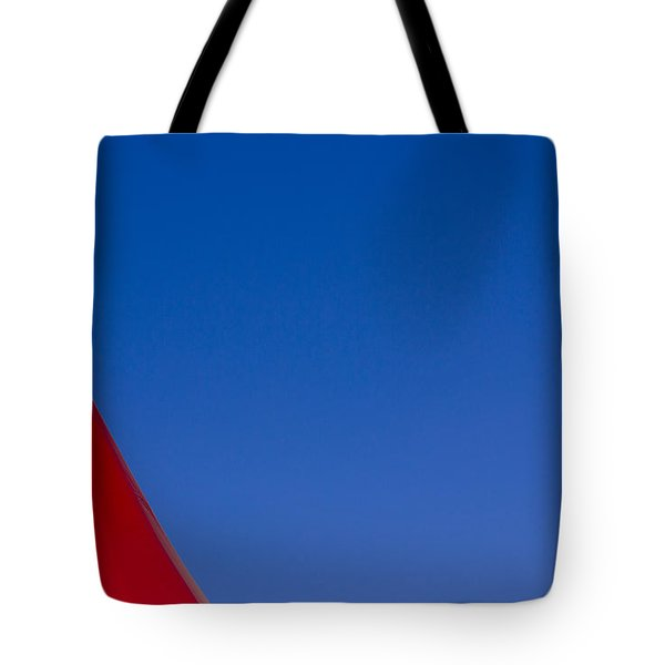 Red And White Triangles Tote Bag by Prakash Ghai