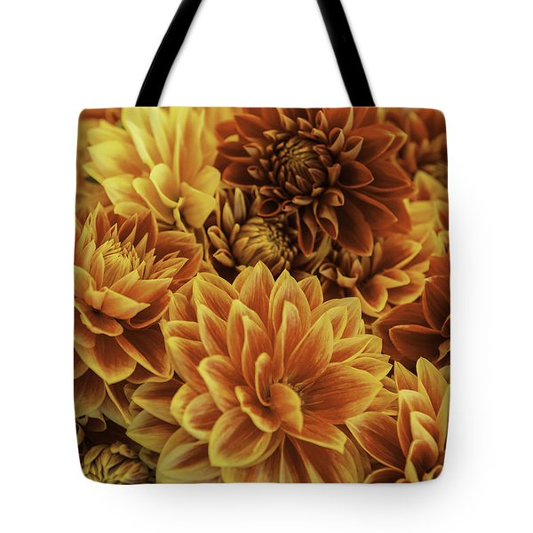 Red And Yellow Dahlias Tote Bag