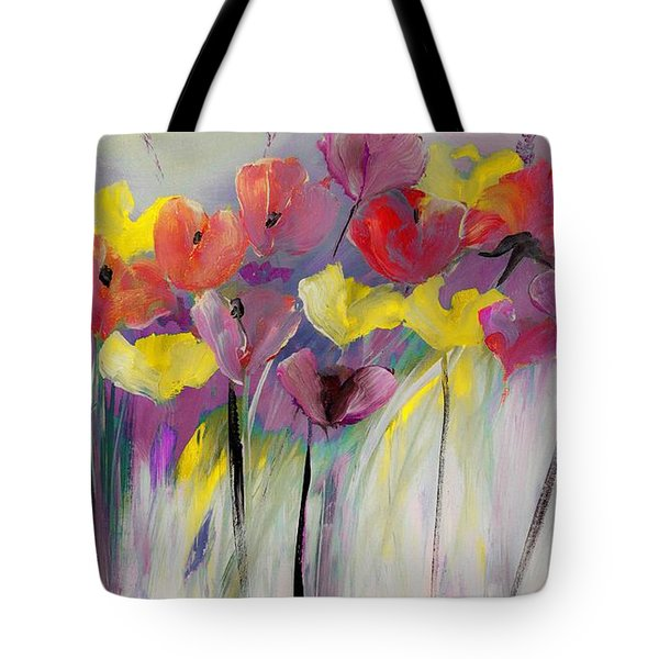 Red And Yellow Floral Field Painting Tote Bag by Lisa Kaiser