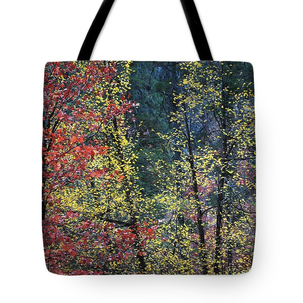 Red And Yellow Leaves Abstract Vertical Number 2 Tote Bag by Heather Kirk