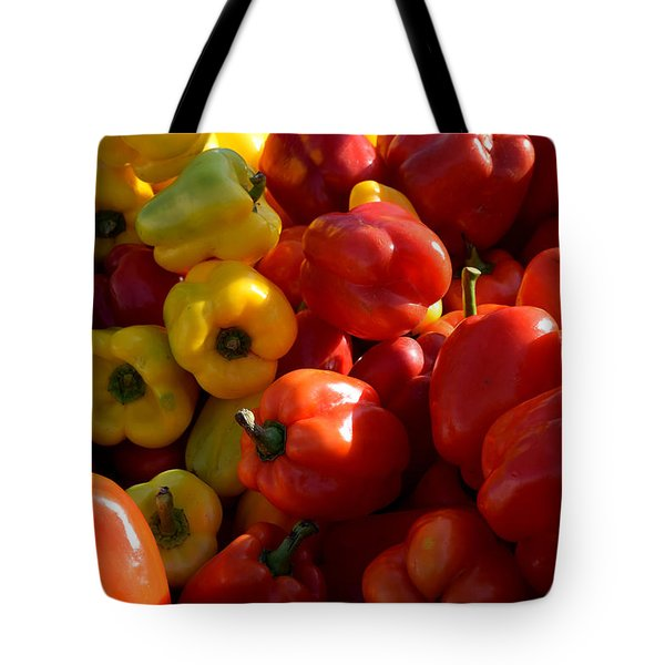 Red And Yellow Peppers Tote Bag