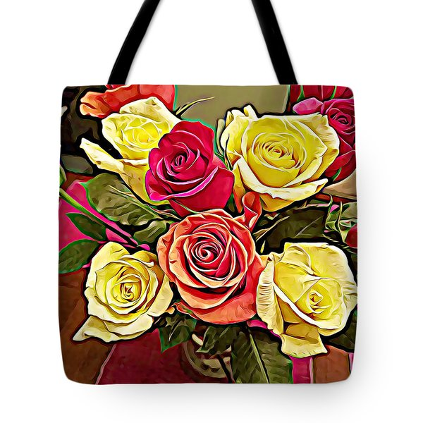 Red And Yellow Rose Bouquet Tote Bag