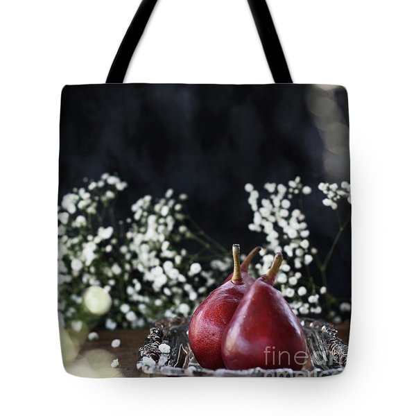 Tote Bag featuring the photograph Red Anjou Pears by Stephanie Frey
