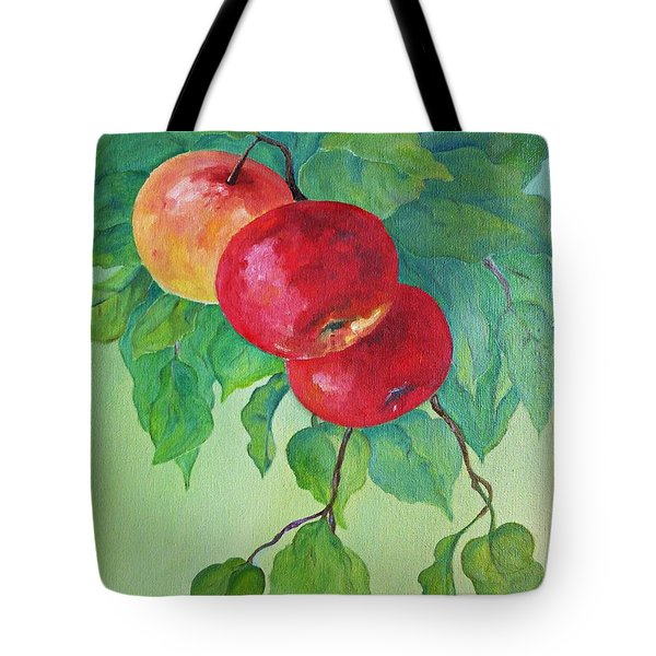 Tote Bag featuring the painting Red Apples by AmaS Art