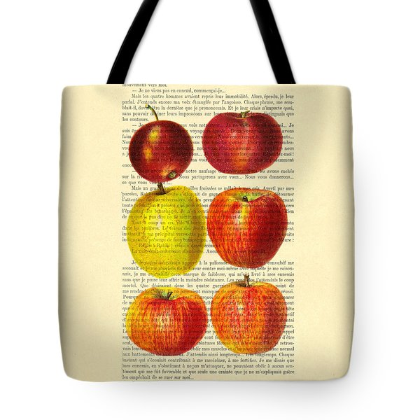 Red Apples Still Life Vintage Illustration Tote Bag