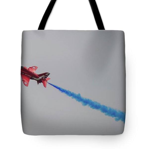 Tote Bag featuring the photograph Red Arrow Blue Smoke - Teesside Airshow 2016 by Scott Lyons