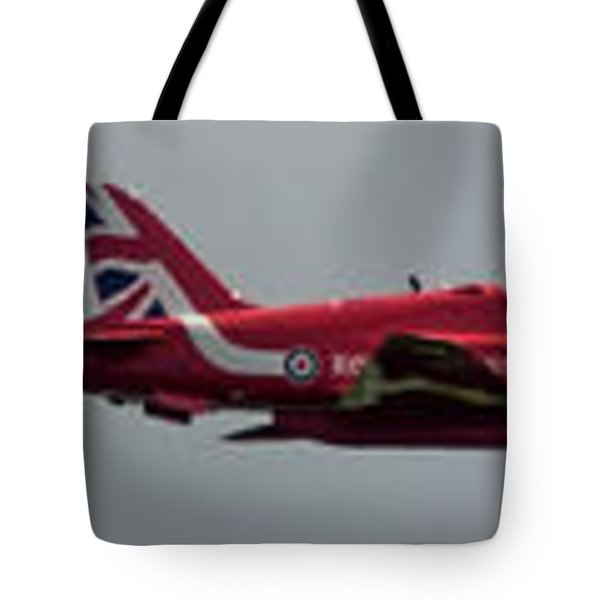 Tote Bag featuring the photograph Red Arrow Straight - Teesside Airshow 2016 by Scott Lyons