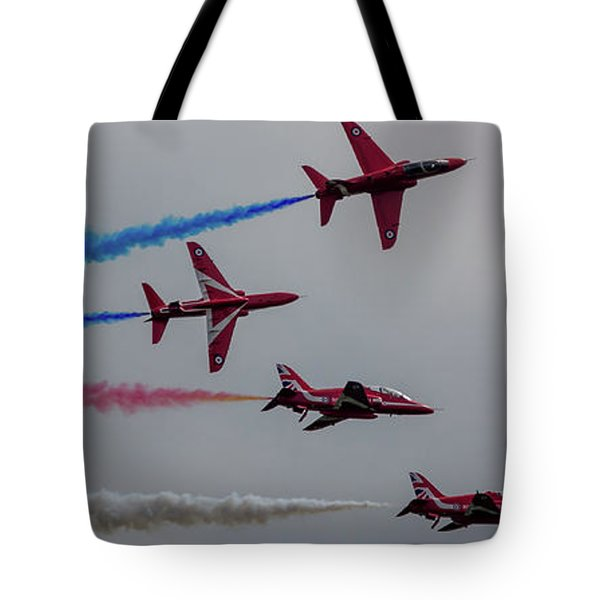 Tote Bag featuring the photograph Red Arrows Break Off - Teesside Airshow 2016 by Scott Lyons