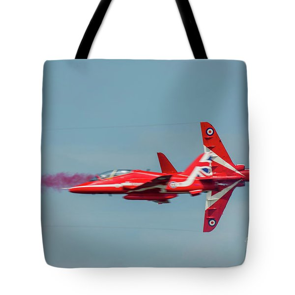 Tote Bag featuring the photograph Red Arrows Crossover by Gary Eason