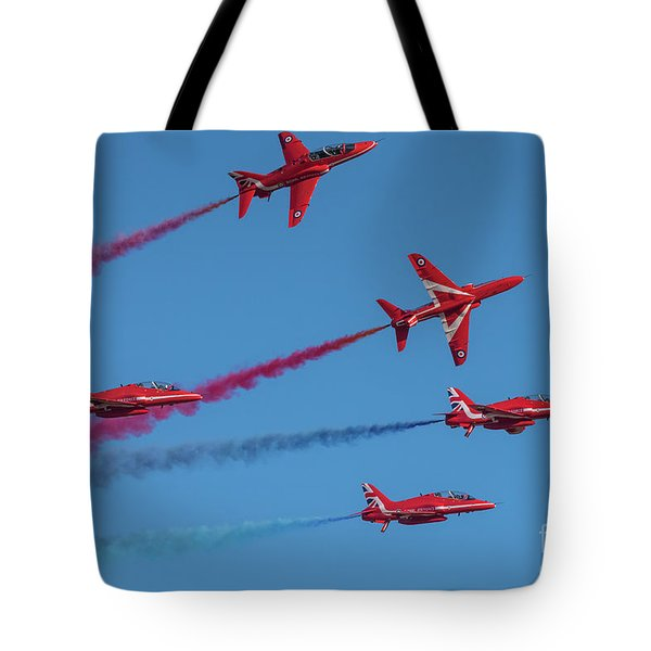 Tote Bag featuring the photograph Red Arrows Enid Break by Gary Eason
