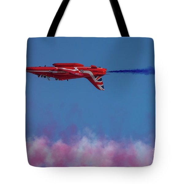 Tote Bag featuring the photograph Red Arrows Hawk Inverted  by Gary Eason
