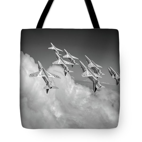 Tote Bag featuring the photograph Red Arrows Sky High Bw Version by Gary Eason