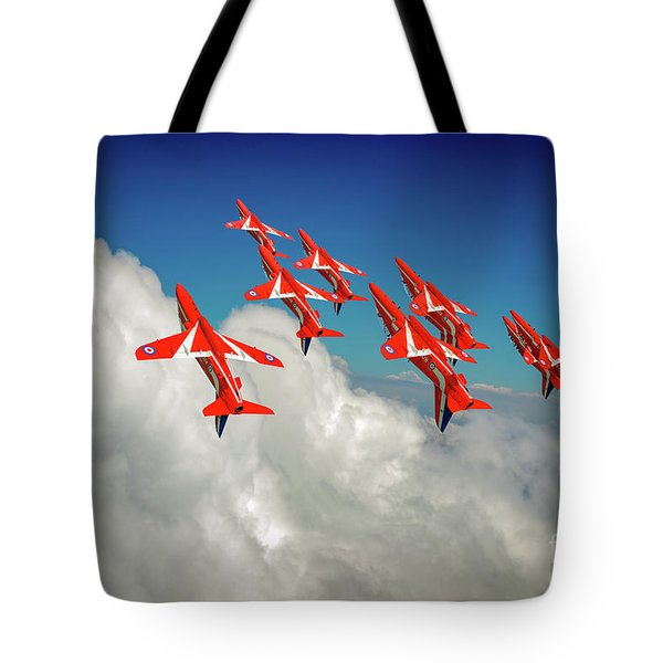 Tote Bag featuring the photograph Red Arrows Sky High by Gary Eason