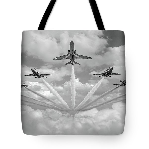 Tote Bag featuring the photograph Red Arrows Smoke On Bw Version by Gary Eason