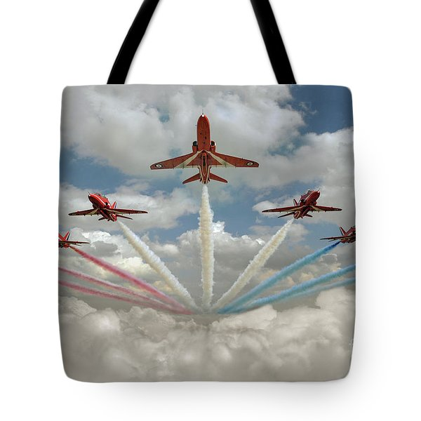 Tote Bag featuring the photograph Red Arrows Smoke On  by Gary Eason